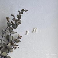 音符ホワイト/ 2種類2枚セット/刺繍アイロンワッペン