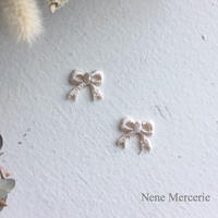 リボン/ホワイト/刺繍アイロンワッペン 2枚セット
