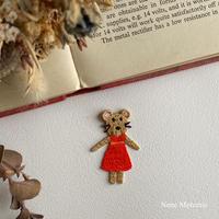 ネズミの女の子/1枚/刺繍アイロンワッペン