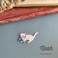 子猫のNoah(ノア)くん/ブルー/刺繍アイロンワッペン