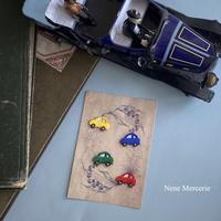 ミニカー/4色/4枚セット/刺繍アイロンワッペン