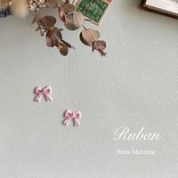 リボン/ピンク/刺繍アイロンワッペン 2枚セット
