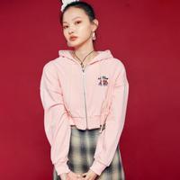 Crop Hood Zip (Pink)