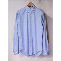 【古着】RALPH LAUREN L/S BUTTON DOWN SHIRT Stripe Blue/White Size 16inch (Japan L-XL)