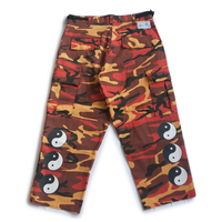 YIN YANG CUT-OFF CAMO PANTS (ORANGE)