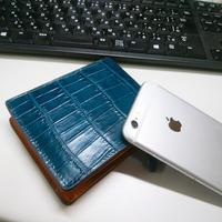 メンズ用 牛革二つ折財布  ブルー
