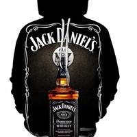 ジャック ダニエル   3Dデザイン  パーカー  スウェット ユニセックス  ウイスキー ブランデー Jack Daniel's  2