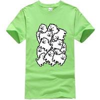 ゲームグッズ アンダーテール Undertale   Annoying dog たくさん うざい犬  大量 うざいイヌ Tシャツ  ライトグリーン