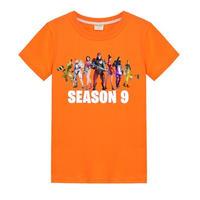 フォートナイト fortnite 子供服  シーズン9 プリントTシャツ ユニセックス カジュアル半袖Tシャツ トップス   オレンジ
