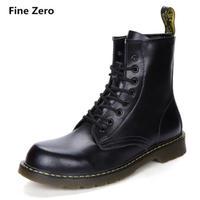 Fine Zero  大人気 本革 ブーツ 8ホール  オートバイ バイク パンク ロック  /ドクターマーチン好きに ブラック・ファー付き選択可能です