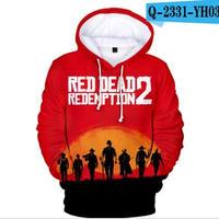 レッド・デッド・リデンプション2 コスプレ パーカー 3Dデザイン  Red Dead Redemption 2 logo ロゴ 風 パーカー コート ジャケット 長袖 男女兼用  7