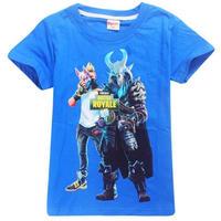 フォートナイト fortnite 子供服  プリントTシャツ ユニセックス カジュアル半袖Tシャツ トップス 4色展開 バトルロワイヤル  ブルー