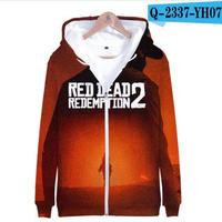 レッド・デッド・リデンプション2 コスプレ パーカー ジップアップ 3Dデザイン  Red Dead Redemption 2 logo ロゴ 風 パーカー コート ジャケット 長袖 男女兼用  7