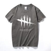 デッドバイデイライト メンズ 黒と白のストライプ Tシャツ 半袖 8/19 7-8