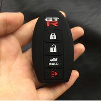 スカイライン ドブレフブラック 4ボタン シリコンケース プロテクターキーFobスマート車リモートホルダーfor Nissan Gtr r32 r34 r35