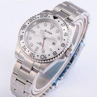BLIGER 自動巻き腕時計 ホワイトセラミックベゼル 白 GMT ステンレスストラップ サファイア クリスタル