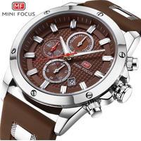 MINIFOCUS メンズ腕時計 海外高級ブランド ミリタリー ラバーストラップ 防水 クロノグラフ クォーツ時計