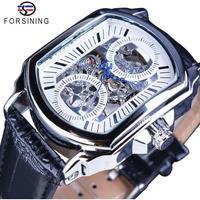 Forsining レトロクラシック ホワイトダイヤル スケルトン メンズ腕時計 自動機械式腕時計 海外トップブランド