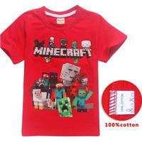 マインクラフト Minecraft  子供服  プリントTシャツ ユニセックス カジュアル半袖Tシャツ トップス  マイクラ レッド