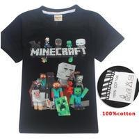 マインクラフト Minecraft  子供服  プリントTシャツ ユニセックス カジュアル半袖Tシャツ トップス  マイクラ ブラック