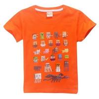 マインクラフト Minecraft  子供服  モンスター キャラクター プリントTシャツ ユニセックス カジュアル半袖Tシャツ トップス  マイクラ  オレンジ