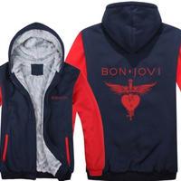 高品質  ボンジョビ Bon Jovi   あったかい フリースパーカー ジップアップ  衣装 コスチューム 小道具 海外限定  コスプレ  10