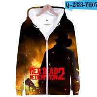 レッド・デッド・リデンプション2 コスプレ パーカー ジップアップ 3Dデザイン  Red Dead Redemption 2 logo ロゴ 風 パーカー コート ジャケット 長袖 男女兼用  3