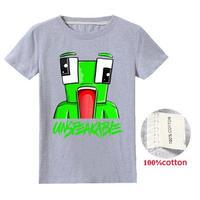 マインクラフト Minecraft unspeakable アンスピーカブル  子供服  プリント Tシャツ 半袖 トップス  マイクラ youtube ユーチューバー  グレイ