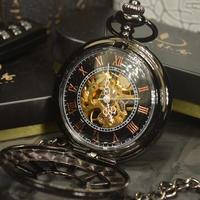 Tiedan 懐中時計 アンティーク ハイブランド メンズ スケルトン 機械式 ブラック ポケットウォッチ