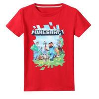 マインクラフト Minecraft  子供服  ロゴデザイン Tシャツ ユニセックス カジュアル半袖Tシャツ トップス  マイクラ  レッド