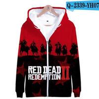 レッド・デッド・リデンプション2 コスプレ パーカー ジップアップ 3Dデザイン  Red Dead Redemption 2 logo ロゴ 風 パーカー コート ジャケット 長袖 男女兼用  9