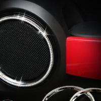ミニクーパー スピーカーカバー 2個入 カーオーディオ 装飾リング F55 F56,16 クラブマンF54 キラキラ h00417