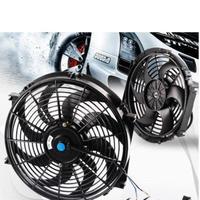 ユニバーサルファン モーターエンジンラジエター オイルクーラー 冷却 電気プルプッシュ 黒 h01410