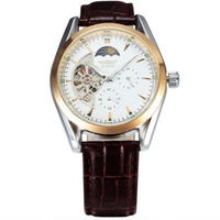 SEWOR  高級 トップブランド 自動巻き オートマメンズ腕時計 レザーベルト ムーンフェイズ調 ホワイト