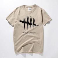 デッドバイデイライト メンズ 黒と白のストライプ Tシャツ 半袖 8/19 7-6