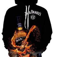 ジャック ダニエル   3Dデザイン  パーカー  スウェット ユニセックス  ウイスキー ブランデー Jack Daniel's