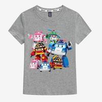 ロボカーポリー子供 Tシャツ 半袖  グッズ グレイ