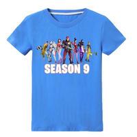 フォートナイト fortnite 子供服  シーズン9 プリントTシャツ ユニセックス カジュアル半袖Tシャツ トップス   ブルー