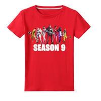フォートナイト fortnite 子供服  シーズン9 プリントTシャツ ユニセックス カジュアル半袖Tシャツ トップス   レッド