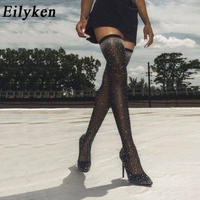 【Eilyken】★ストレッチ ニーハイブーツ★クリスタル★ロングブーツ/ニーハイブーツ/サイハイブーツ//レディース/レザー/ハイヒール/ヒール高さ12cm
