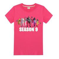 フォートナイト fortnite 子供服  シーズン9 プリントTシャツ ユニセックス カジュアル半袖Tシャツ トップス   ピンク