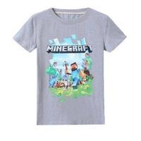 マインクラフト Minecraft  子供服  ロゴデザイン Tシャツ ユニセックス カジュアル半袖Tシャツ トップス  マイクラ  グレイ