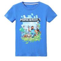 マインクラフト Minecraft  子供服  ロゴデザイン Tシャツ ユニセックス カジュアル半袖Tシャツ トップス  マイクラ  ブルー