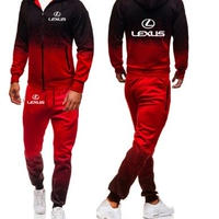 レクサス  LEXUS ロゴ パーカー ロングパンツ 上下セットアップ 服  スウェット  赤 黒  海外限定