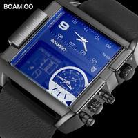 BOAMIGO 高級 トップブランド デジタル メンズ腕時計 多機能 ブラック レザーベルト