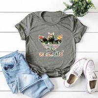 レディース 女性 ネコ 猫 キャット Tシャツ 半袖      ねこ cat グレイ