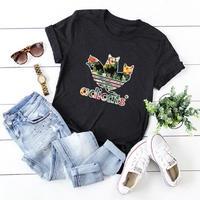 レディース 女性 ネコ 猫 キャット Tシャツ 半袖      ねこ cat ブラック