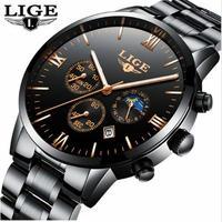 LIGE 高級ブランド メンズ腕時計 クロノグラフ 防水フルステンレス 海外インポートブランド メンズクォーツ