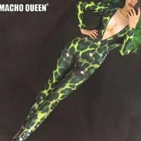 ドラァグクイーン  ヌードプリント ボディスーツ 衣装 ハロウィン ダンスステージ衣装パフォーマンス 女性歌手 ステージ ビッグ ストレッチ ジャンプスーツ  7