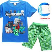 マインクラフト Minecraft  子供服  半袖パジャマ上下  ユニセックス  カジュアル半袖Tシャツ トップス  マイクラ   ブルー